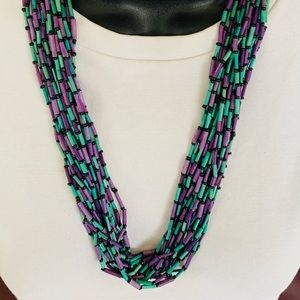 Purple & Green chunky necklace